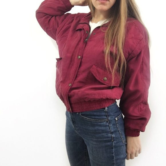 242f568ad7d Vintage Dark Red Silk Bomber Jacket Size Small. M 5a72774e72ea8881bf131ef0